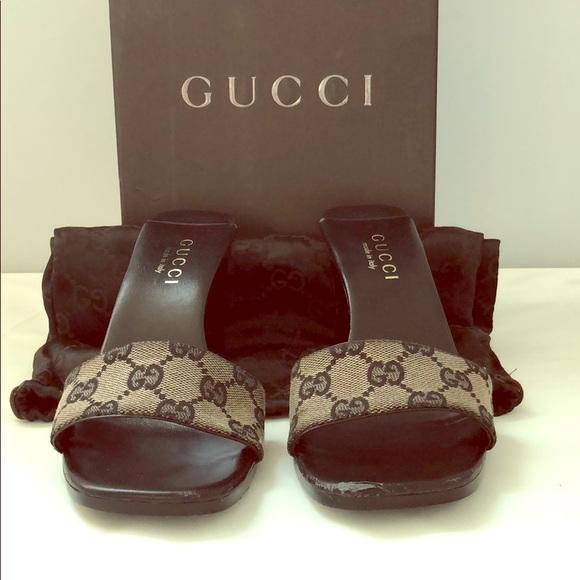 14b7a110937 Gucci Shoes - Gucci Sandalo Tessuto-Original GG-Beige Black